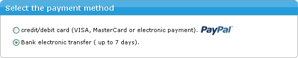 You need to select the method of payment ( PayPal / bank transfer)